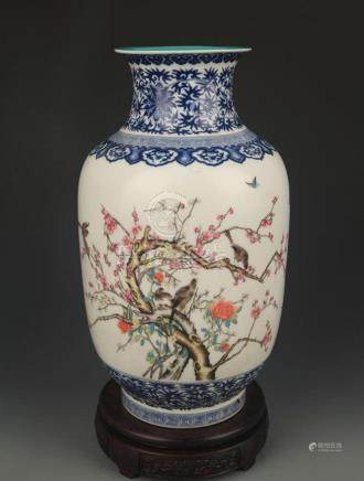 BLUE AND WHITE FAMILLE ROSE MAGPIE PATTERN LANTERN STYLE VAS