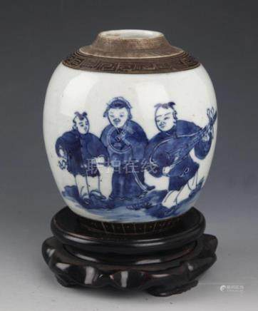 A STORY PAINTED BLUE AND WHITE PORCELAIN JAR