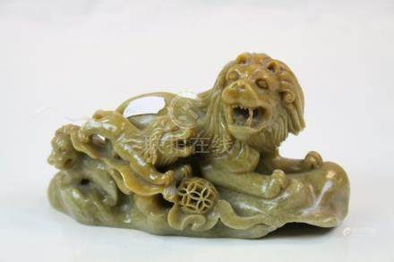 Oriental carved Soapstone model of a Lion with young