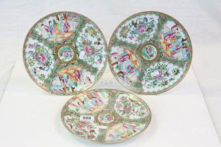 Three Chinese Famille Rose Plates decorated with panels of Figures, Flowers, Birds and Insects