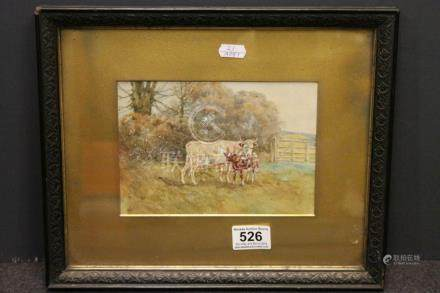 19th century Painting of Cow and Calf signed bottom left