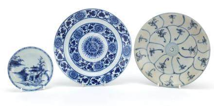 Three Chinese porcelain dishes including two shipwreck examples, Nanking cargo and Tek Sing, the