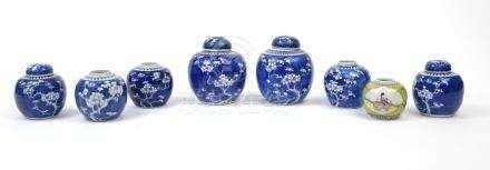 Eight Chinese porcelain ginger jars, four with covers including seven blue and white hand painted