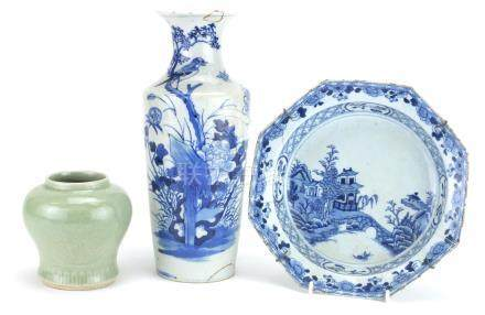 Chinese porcelain including a blue and white vase with tapering body and a celadon vase incised with