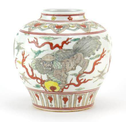 Chinese porcelain jar, hand painted in the famille verte palette with three Qilins, six figure