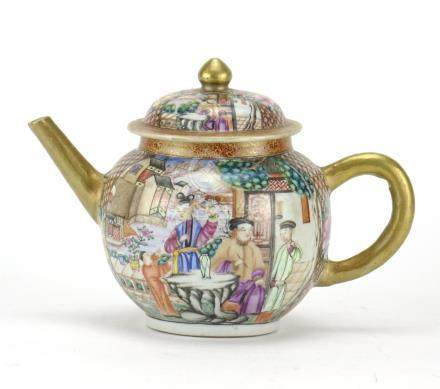 18th Century Chinese porcelain teapot, finely hand painted in the Mandarin palette with figures in