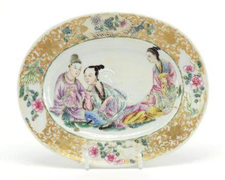 Chinese porcelain oval dish finely hand painted in the famille rose palette with three females,