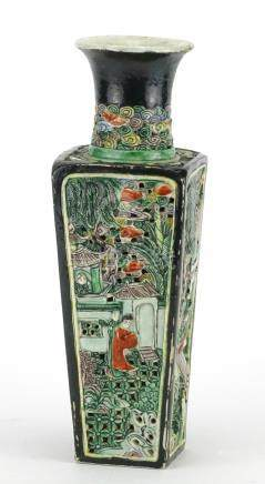 Chinese porcelain famille verte vase with square tapering body, pierced and decorated in relief with
