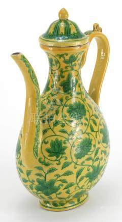Chinese porcelain yellow ground wine ewer, hand painted with flower heads amongst foliate scrolls,