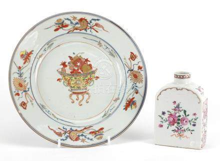 Chinese porcelain plate and tea caddy, hand painted in the famille rose palette with flowers, the