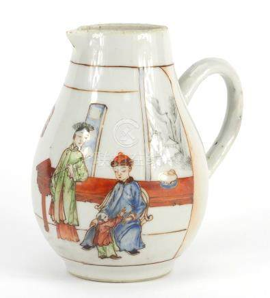 Chinese porcelain sparrow beak jug, hand painted with three figures in an interior, 10.5cm high