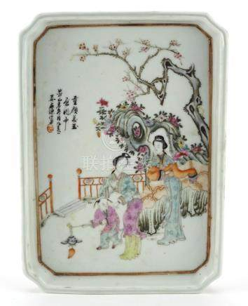 Chinese porcelain tray hand painted in the famille rose palette with figures in a court setting with