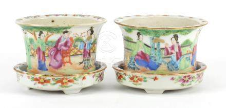 Pair of miniature Chinese porcelain Canton planters on stands, hand painted with figures,