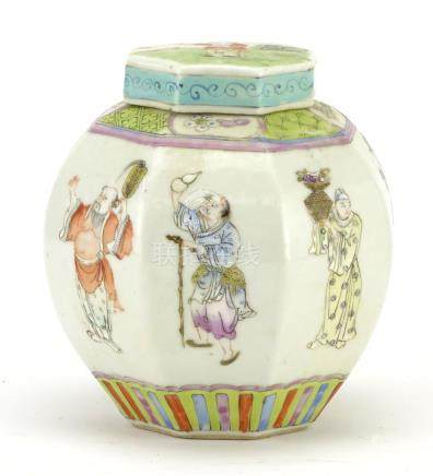 Chinese porcelain octagonal jar and cover, hand painted in the famille rose palette with figures,