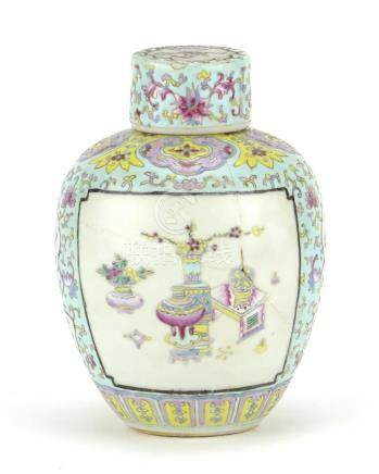 Chinese porcelain lidded tea caddy, finely hand painted in the famille rose palette with lucky