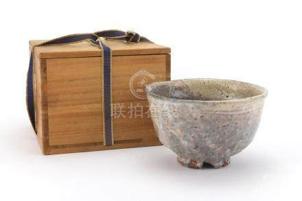 Korean Haldi pottery bowl, impressed character marks, with box, 9cm high x 14.5cm in diameter
