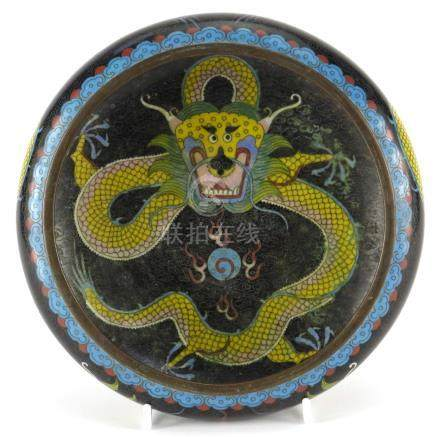 Chinese cloisonné bowl enamelled with dragons amongst clouds, four figure character marks to the