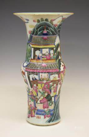 19th Century Chinese Famille Rose baluster shaped vase having continuous polychrome enamelled