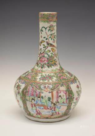 19th Century Cantonese Famille Rose vase having a bulbous body and long neck, typically decorated