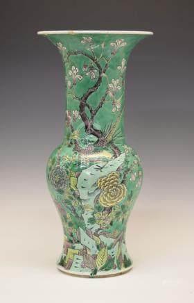 Chinese porcelain baluster shaped vase having allover decoration depicting birds amongst foliage