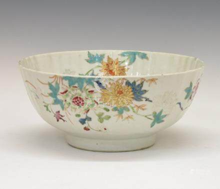 18th Century Chinese porcelain polychrome and bianca sopra bianca floral decorated bowl having
