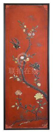 Chinese red lacquered panel having inset soapstone, hardstone and bone decoration depicting birds