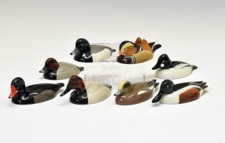 Eight Val Bennett painted bronze duck figurines comprising: Mandarin Duck, Feb 1980, Pochard, Jan