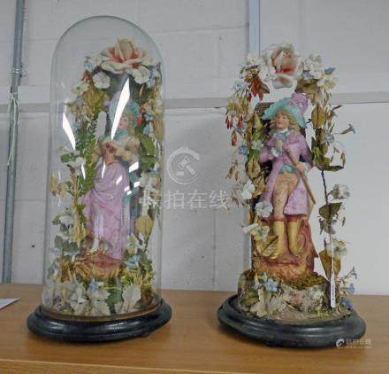 PAIR OF HEUBACH STYLE PORCELAIN FIGURES, ONE WITH GLASS DOME.