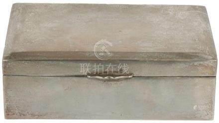 Tabak sigaretten doos met houten interieur zilver.China, Hong kong, Tackhing, 20e eeuw,