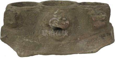 Stenen fragment.Van een Chinees huis. 43 x 20 cm.Stone fragment.From a Chinese house. 43 x 20 cm.