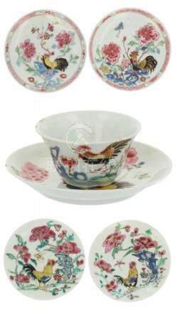 Lot porselein.O.a. gedecoreerd met pluimvee en famille rose decor. China. 18e/19e eeuw. 1 bordje