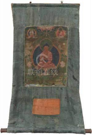 Thangka.Beschilderd op linnen. Tibet 18e eeuw. Inclusief aankoopbewijs. 70 x 51,5 cm.Thangka.Painted