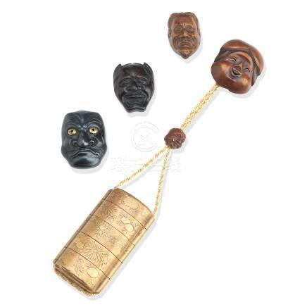 A gold-lacquer four-case inro and four mask netsuke Meiji era (6)