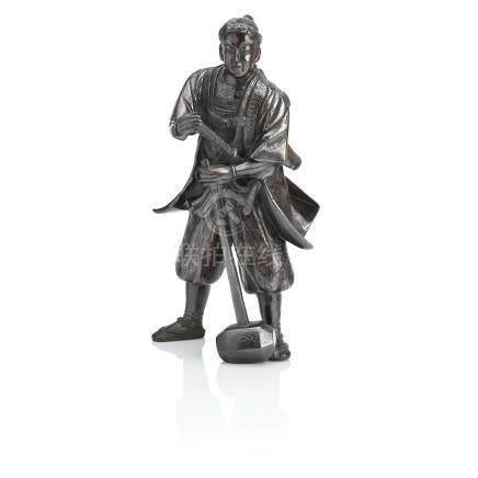 A bronze figure of a samurai Meiji era