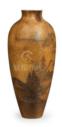 A slender ovoid inlaid bronze vase  By probably Jomi Eisuke II, Meiji era, late 19th/early 20th century