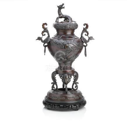 A bronze koro and cover Meiji era (3)