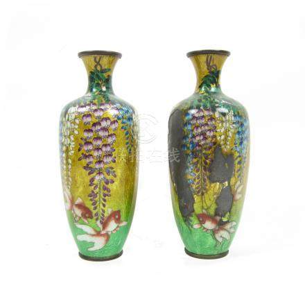 A ginbari cloisonné enamel vase Meiji era (2)