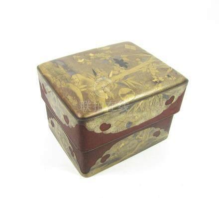A gilt, black and red lacquer tebako (accessories box) 17th century (3)