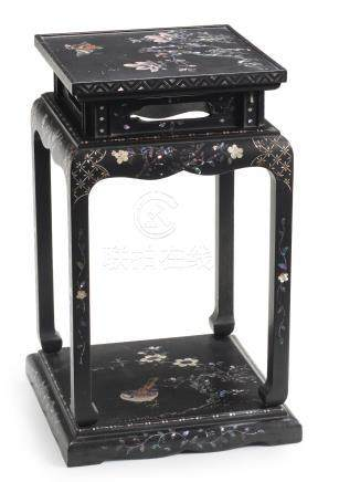 A Nagasaki-style black-lacquered square table Edo period, first half of the 19th century (2)