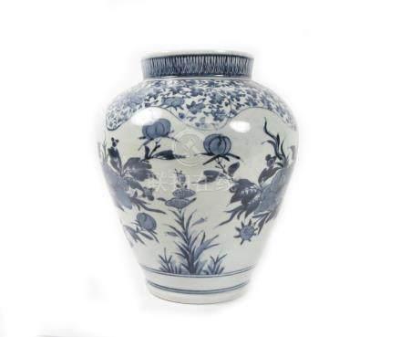 An Arita blue and white baluster vase Meiji era