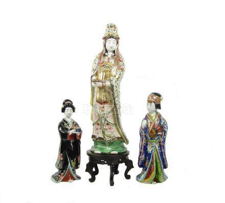Two Arita figures of geishas and another figure Circa 1900 (4)