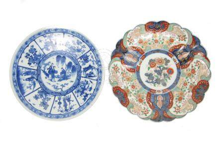 An Arita blue and white charger and an Imari charger Meiji era (2)