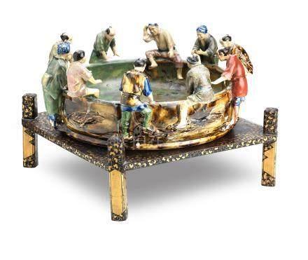 A very large Sumidagawa basin on a lacquered wood stand Meiji/Taisho era (2)