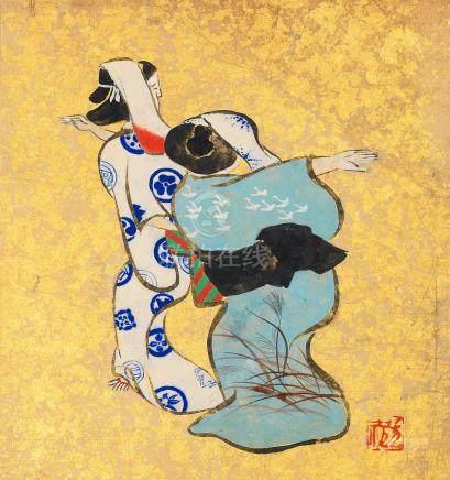 Three album paintings in the Neo-Rinpa-style Meiji era (6)