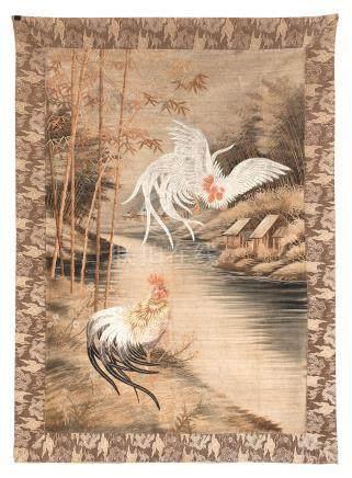 A silk embroidered panel Meiji era