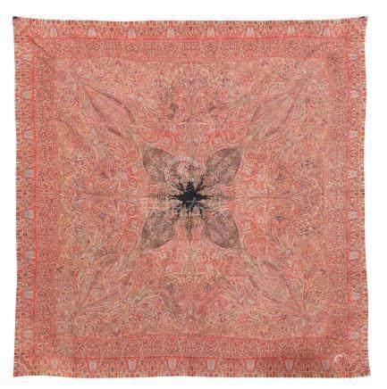 A woven silk shawl Kashmir, late 19th century