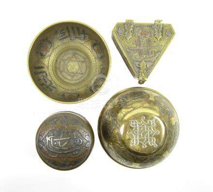 A Cairo ware bowl and other similar metalwares 19th century (7)