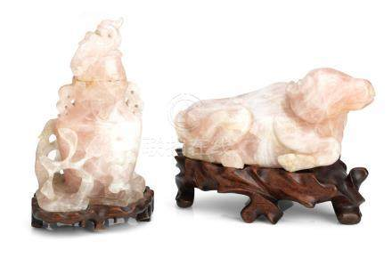 A rose quartz model of a water buffalo together with a similar vase and cover Late 19th/early 20th century (3)