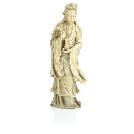 A soapstone figure of a Guanyin Circa 1900