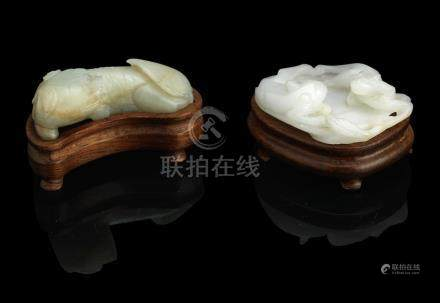 A white jade carving of two cats, a jade Buddhist lion and another small jadeite lion-dog Qing Dynasty (7)